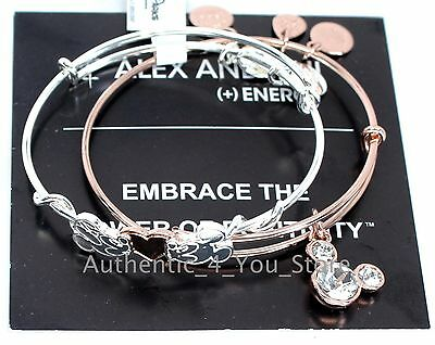 NEW Disney ALEX AND ANI Mickey Minnie Heart Silver & Rose Gold Bracelet SET