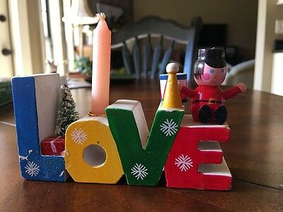 Vintage Giftco Words of Christmas Wooden Candle Holder ~ Love New In Box