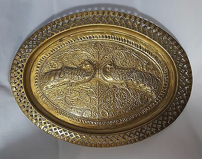 Beautiful Vintage Large Wall Hanging Indian Solid Brass Tray (Length - 41 cm)