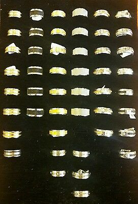 Lot of 47 Wholesale Men's Stainless Steel Rings Assorted Styles & Sizes