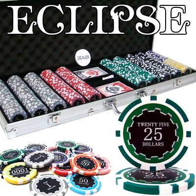 New 500 Ct Eclipse Poker Chip Set w/ Aluminum Case 14 Gram Casino Gambling Chips