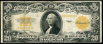 Fr. 1187 1922 $20 Twenty Dollars Gold Certificate Currency Note Very Fine (C)