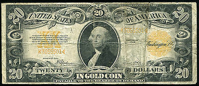 Fr. 1187 1922 $20 Twenty Dollars Gold Certificate Currency Note (A)