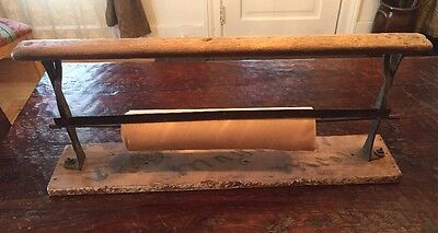 Antique Country Store Cast Iron Butcher Wrapping Paper Holder Cutter Vintage