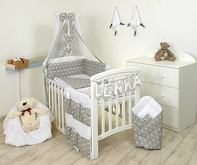 GREY STARS BABY BEDDING SET +MORE DESIGNS COT or COT BED 3,4,5,7 9 MULTIAUCTION