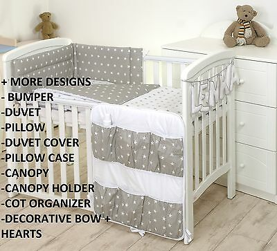 GREY STARS BABY BEDDING SET COT or COT BED MULTIAUCTION +MORE DESIGNS