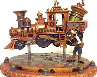 NEW Disney Parks Mechanical Kingdom Steampunk Goofy Train Figurine Locomotive