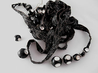 "Victorian 68"" Mourning or Art Deco Glass Bead Necklace - As Is"
