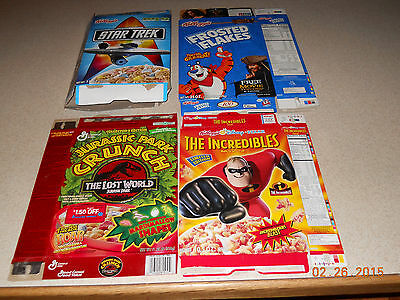 Cereal Box Lot (11) Star Trek, Incredibles, Jurrasic Park and Sports