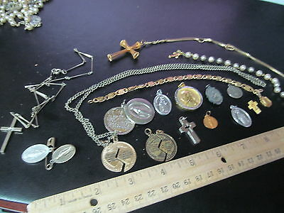 Lot of Religious Catholic Christian Jewelry Medals Pendants 1 Sterling Cross