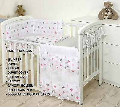 PINK  STARS/GREY BABY BEDDING SET COT or COT BED MULTIAUCTION +MORE DESIGNS