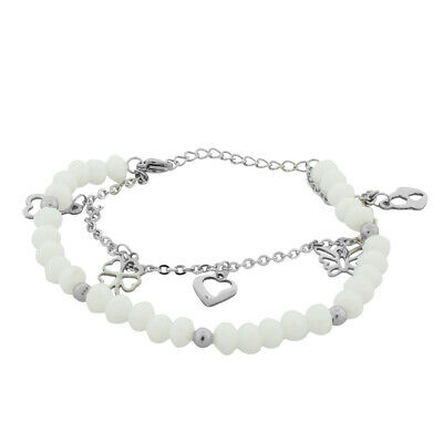 Stainless Steel White Silver-Tone Flower Heart Charms Link Chain Bracelet