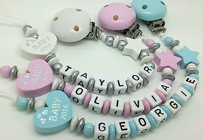 Personalised  baby girl or boy  wooden dummy Clip Baby 2016 Baby gift