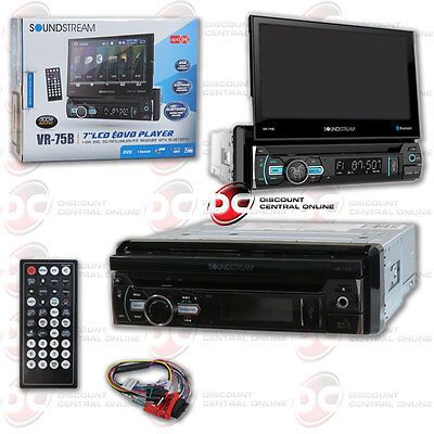 "Soundstream Vr-75B Car 1-Din Dvd Cd Bluetooth Stereo W/ Motorized 7"" Touchscreen"