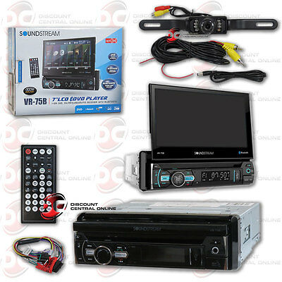 "Soundstream Vr-75B Din Motorized 7"" Lcd Bluetooth Radio Free Licenseplate Camera"
