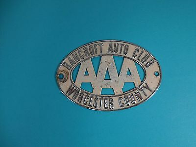 Auto Automobile Club AAA License Plate Topper Radiator Badge Bancroft Worcester