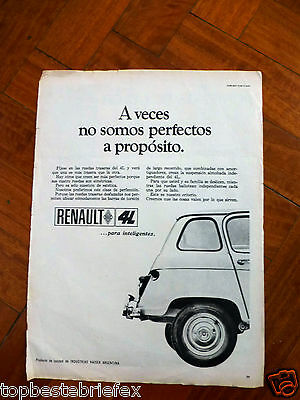 RENAULT 4L  AD 1 ADVERTISING PAGE CLIPPING IN SPANISH fromARGENTINA