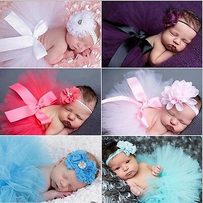 Newborn Photography Prop petite skirt Baby tutu custome outfit with headband