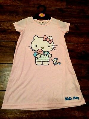 girls new faMoS st hello kitty nightie night dress summer pink embroided detail