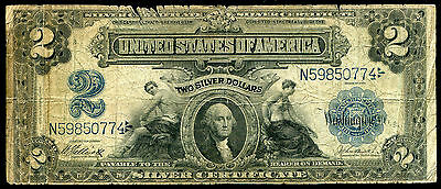 1899 $2 Two Dollars Silver Certificate Currency Note