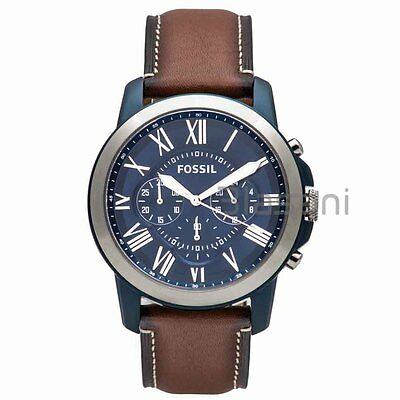 Fossil Original FS5151 Men's Grant Light Brown Leather Watch 44mm Chronograph