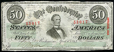 T-57 1863 $50 Fifty Dollars Csa Confederate States Of America About Unc