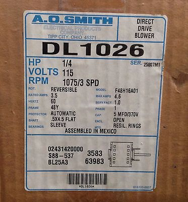 ~Discount HVAC~ AO-DL1026 - AO Smith Blower Motor 1/4HP 115V 1075RPM Rev Rot