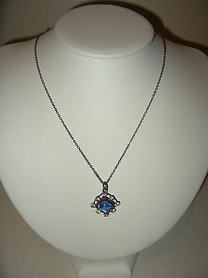 Vintage Victorian GF Gold Filled Blue & Clear Rhinestone Pendant & Chain