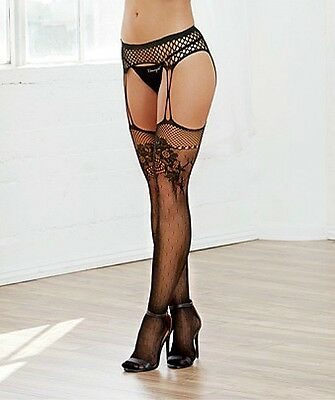 Stretch Fishnet Garter Belt Style Pantyhose & Attached Thigh High Stockings