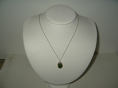 Delicate Vintage Victorian Signed 10k GF B.C. Jade Oval Pendant & Chain