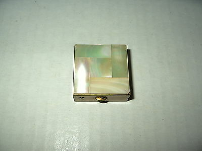 Vintage Goldtone & Mother Of Pearl MOP Square Hinged Pill Trinket Box