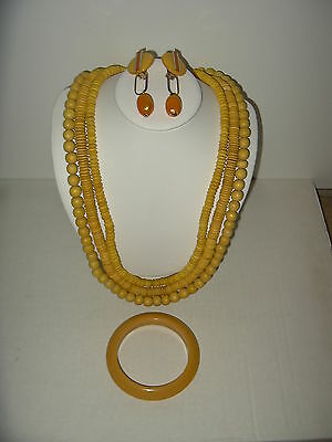 3 Pc. Vintage Retro Yellow Plastic Earrings & Bracelet & 3 Strand Wood Necklace