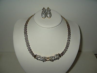 Vintage Goldtone Black-Clear-Green Rhinestone Panther Necklace & Clip Earrings