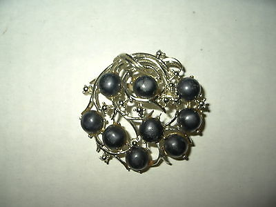 Vintage Victorian Goldtone Black Gray Pearl Mourning Brooch Pin