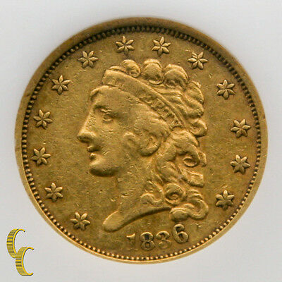 1836 Gold $2.5 Dollar Liberty Classic Head Coin (VF) Very Fine Condition