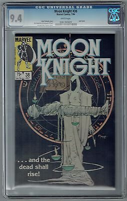 Moon Knight #38 CGC 9.4 NM Wp Marvel Comics 1984 Rare Last Issue Tough Blk Cvr