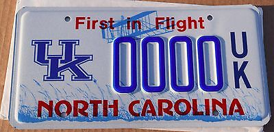 MINT North Carolina Sample Graphic License Plate; University of Kentucky