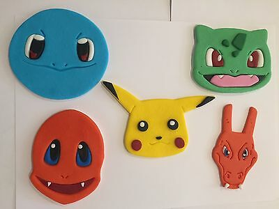 Pokemon character inspired cake topper decorations Pikachu, Squirtle, Charmander