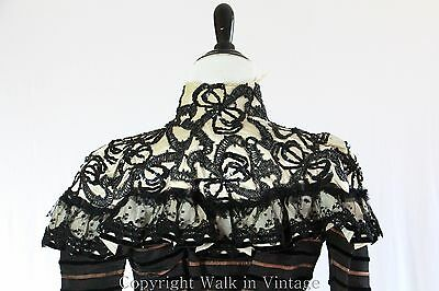 Antique 1890s Victorian Dress Marcasite Beaded Sequined Lace Coat Jacket XS