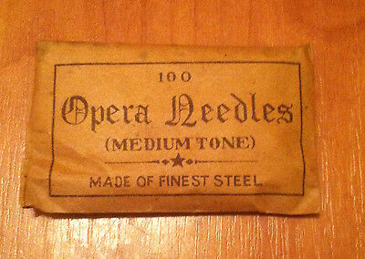 Vintage pack of 100 Opera Needles (Medium Tone) GRAMOPHONE PHONOGRAPH
