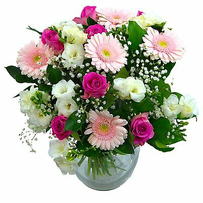 Clare Florist Baby Girl Flowers Bouquet - Fresh White Roses, Pink Gerbera and to