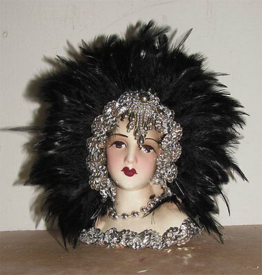 "Unique Creations Small 9"" Art Deco Lady Doll Bust Head Vase"