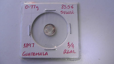 Guatemala 1897 1/4 real silver coin - UNC