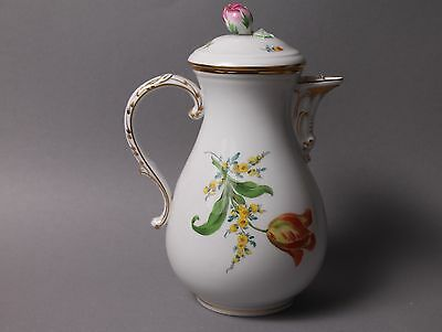 Meissen Crossed Swords Large Coffee Pot Flowers Multicolor Floral Design 2nd 20t