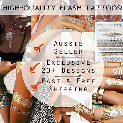 Flash Tattoos Gold Temporary Tattoo Metallic Foil Silver Black Fake Festival art