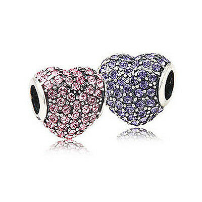 PAVE HEART Sterling Silver Crystal Purple Pink Studded Charm Bead for Bracelet