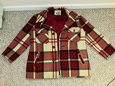 Vintage 60's Woolrich Mens M THICK Wool Mackinaw Hunting Flannel Shirt Jacket