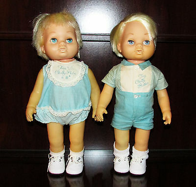 Vintage 1962 Mattel Tiny Chatty Baby & Tiny Chatty Baby Brother Dolls w/ Clothes