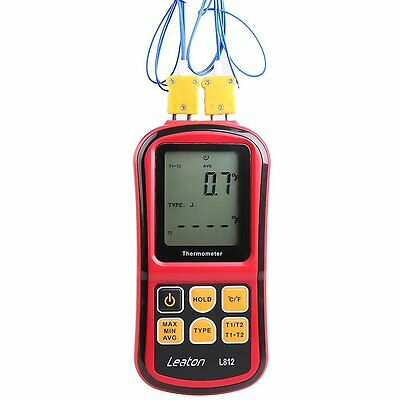 Leaton® Digital Thermocouple Thermometer Dual-channel LCD Backlight Temperature