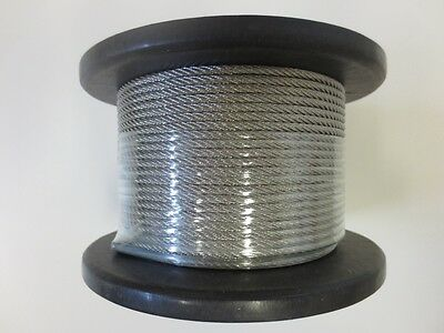 Marine Stainless Steel Wire G316 Balustrade Cable Rope 3.2mm 1 x 19 Decking -50m